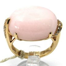 SOLID 18K ROSE GOLD RING, BIG CABOCHON OVAL PINK OPAL, DIAMONDS 0.23 CARATS image 1