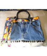 RECYCLED DENIM BLUE JEAN TOTE W/COLORFUL BELT, BEADS & 2 BLACK PLASTIC H... - $12.99