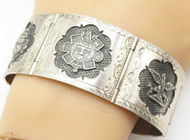 PLAFINA MEXICO 925 Silver - Vintage Large Etched Story Teller Bracelet -... - $257.41
