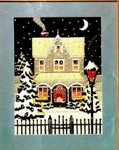 Vtg Holiday Longstitch Needlepoint Winter's Night Snow Victorian House K... - $34.80