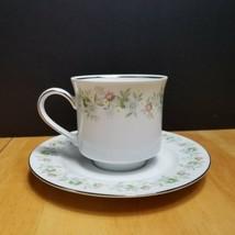 Johann Haviland Forever Spring Cup & Saucer White Multi-Color Floral Rim  - $5.93