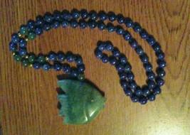 Green & Blue Beads Fish Pendant Necklace Jadite? Carnelian? 4.2g - €23,13 EUR