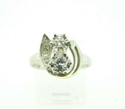 Retro 14k White Gold Genuine Natural Diamond Ring .36ct (#J1933) - $525.00