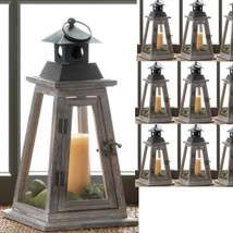 "Lot 10 Pyramid 13"" Tall Rustic Wood Lantern Candle holder Wedding Centerpieces - $202.95"