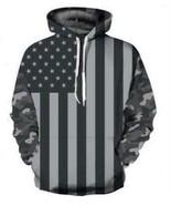 Men's Black & white American flag digital printing Casual Cap Long Sleev... - $32.10