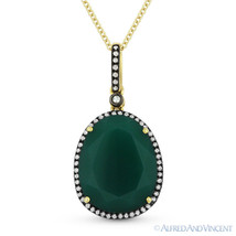 5.89ct Green Agate & Diamond Pave 14k Yellow Black Gold Pendant & Chain Necklace - $544.49
