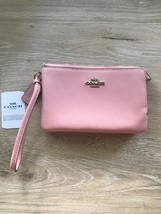 Coach Double Corner Zip Wallet Wristlet Pebble Leather Carnation Pink $98 - $35.99