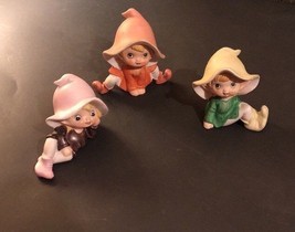 3 Vintage HOMCO Home Interiors Pixie Elves Figurines #5615 & 5213 So Cute! - $25.25
