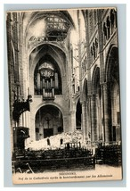 Vintage 1910's Photo Postcard WW1 Bombing Damage Cathedral Soissons France - $17.84