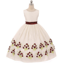 Burgundy Sleeveless Flower Girl Dress with Arise Floral  on the Bottom hem - $52.95+