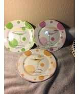 (3) - ROSANNA  SALAD PLATES  MARTINI / COSMOPOLITAN --BARWARE---FREE SHI... - $23.57