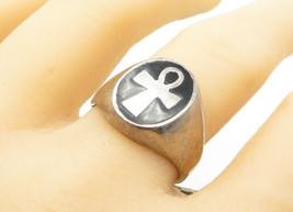 MEXICO 925 Silver - Vintage Black Onyx Egyptian Ankh Band Ring Sz 8 - R1... - $42.82