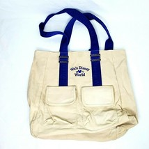 "Walt Disney World Beige & Blue Tote Vintage 1971 Heavy Duty 15x15"" Collectible - $23.00"