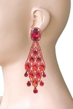 """4.25"""" Long Evening Clip On Earrings Red Rhinestones, Bridal, Pageant, Drag Queen - $19.24"""