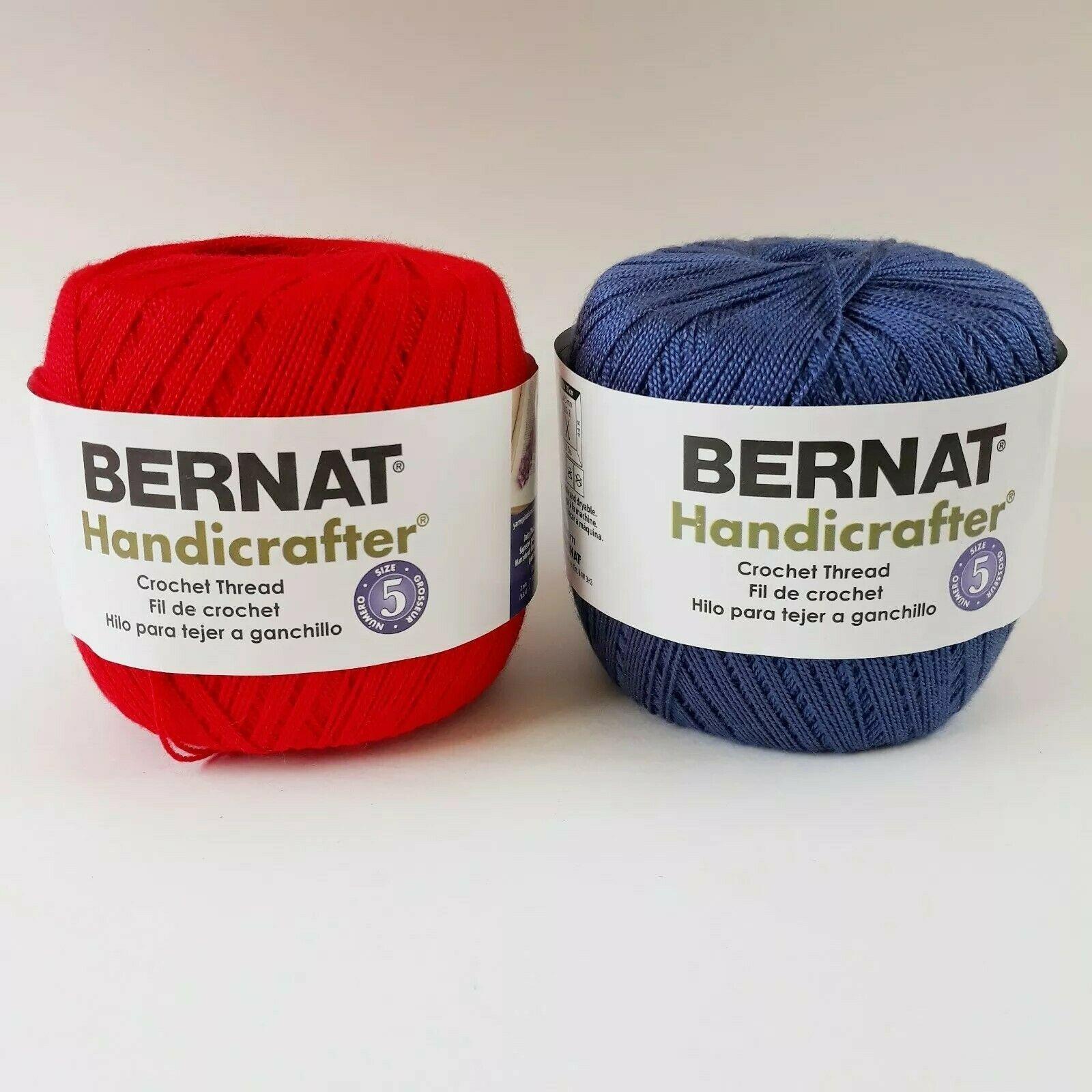 Bernat Handicrafter Crochet Thread Perfect Red & Indigo Blue 371 yds ea Size 5 - $14.99