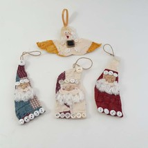 4 Quilt Christmas Ornaments Vintage Hand made 3 Santas 1 Angel image 1