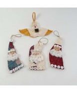 4 Quilt Christmas Ornaments Vintage Hand made 3 Santas 1 Angel - $12.00