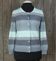 Talbots Cardigan Sweater MP M Petite Size Blue White Stretch Womens Work... - $17.82