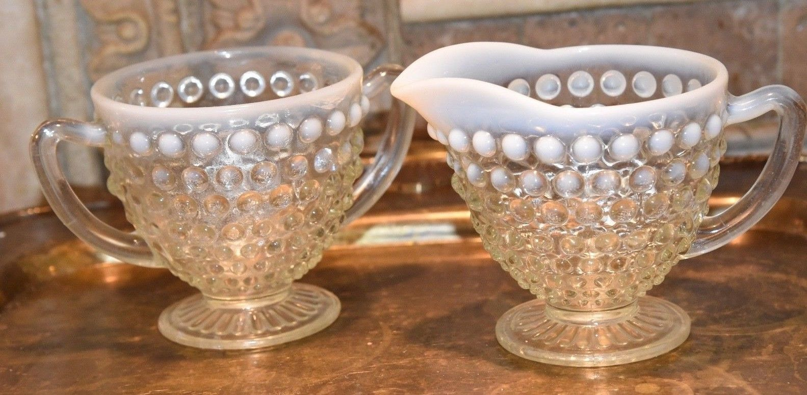 Moonstone HOBNAIL Cream Creamer & Sugar Bowl WHITE ART GLASS Vintage FENTON