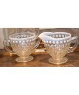 Moonstone HOBNAIL Cream Creamer & Sugar Bowl WHITE ART GLASS Vintage FENTON - $39.99