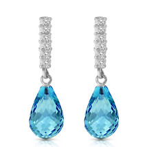 4.65 Carat 14K Solid White Gold Magic In Your Eyes Blue Topaz Diamond Earrings - $314.93