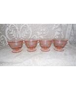 MAYFAIR OPEN ROSE PINK DEPRESSION GLASS CUSTARD PUDDING PARFAIT CUPS SET... - $29.21