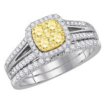 14k White Gold Round Yellow Diamond Bridal Wedding Engagement Ring Set 1... - £1,235.52 GBP