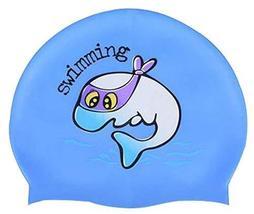 Fashion Children's Swimming Equipment Waterproof Slip Swimming Cap Blue - £9.90 GBP