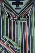 Tommy Hilfiger Men's Navy Green & Red Striped Cotton Casual Shirt XL XLarge - $19.12