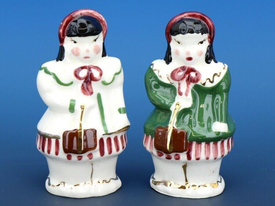 Vintage Novelty Salt & Pepper Shaker Set Poinsettia Studios California Pottery
