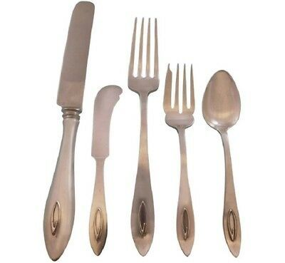 Primary image for Buckingham Narrow by Shreve Sterling Silver Flatware Set Service 35 Pieces