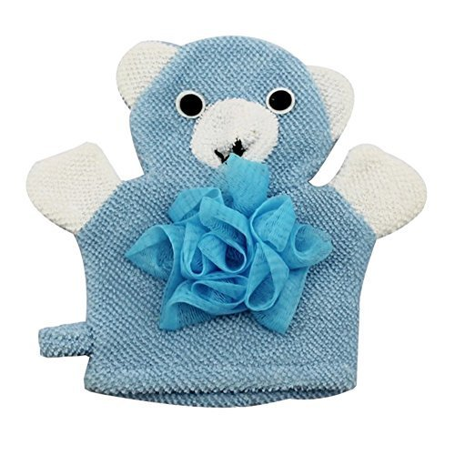 Cute Cartoon Baby Bath sponge Gentle Exfoliating Bath Glove (Blue)