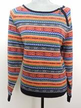 Tommy Hilfiger Colorful Sweater Lightweight Short Shoulder Zipper Accent Top XL - $28.03