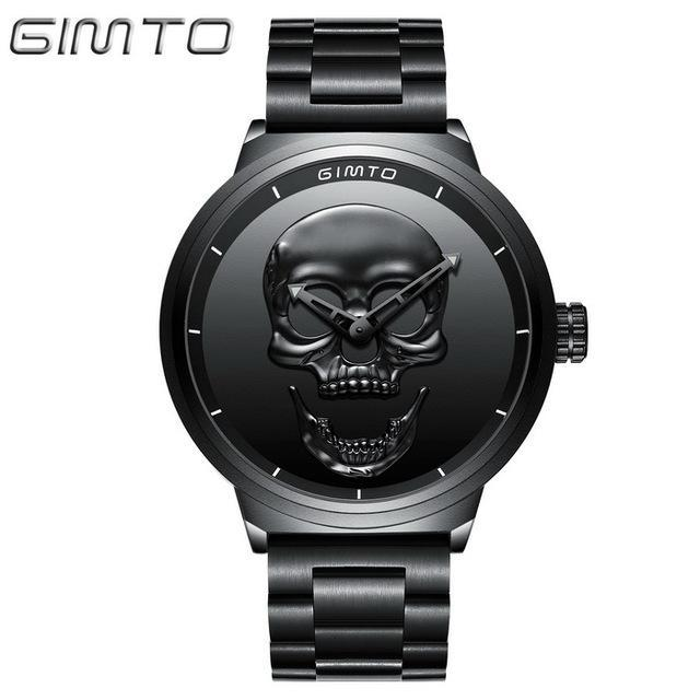 2018 Cool Punk 3D Skull Men Watch Brand GIMTO Luxury Steel Gold Black Vintage Qu image 2