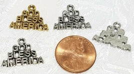 GOD BLESS AMERICA WORDS FINE PEWTER PENDANT CHARM 19mm L x 14mm W x 1mm D image 2