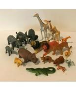 Safari Jungle Zoo Lot of Animals Pretend Play Set Giraffe Elephant Hippo... - $29.99