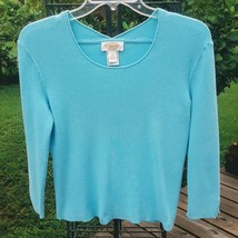 Aqua Pullover Sweater TALBOTS 3/4 Length Notched Sleeve Rib Knit Scoop M - $19.00