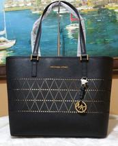 Michael Kors Black Jet Set Travel MEDIUM carryall Tote perforated should... - $137.61