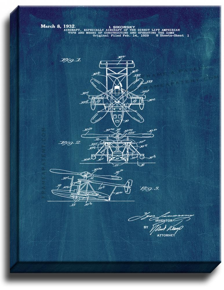 Primary image for Aircraft Of The Direct Lift Amphiblan Patent Print Midnight Blue on Canvas