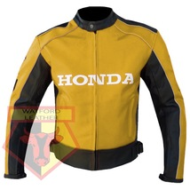 Honda 5523 Yellow Motorcycle Motorbike Armoured Cowhide Leather Jacket For Men - $184.99