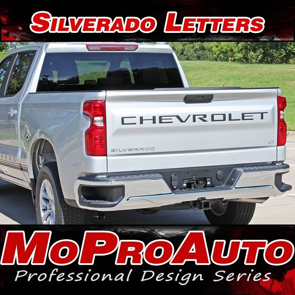 Chevy Silverado Tail Gate Decals Vinyl Graphic Kit CHEVROLET TEXT fits 2019 2020 - Graphics Decals