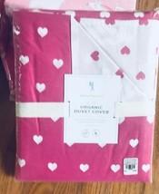 Pottery Barn Kids Heart Duvet Cover Bright Pink Queen Reversible No Sham... - $65.00