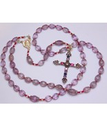 3 WAYS WEARABLE CATHOLIC ROSARY CARVED AMETRINE & STERLING JEWEL CROSS -... - $212.85