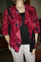 Dressbarn Red/Black Waterfall Open Front Jacket Shirt/Top Attached Tank ... - $18.69