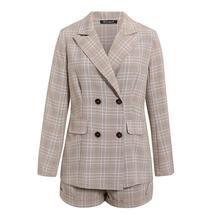 Women Famous Brand 2 Piece Double Breasted Plaid Blazer Shorts Suit image 4