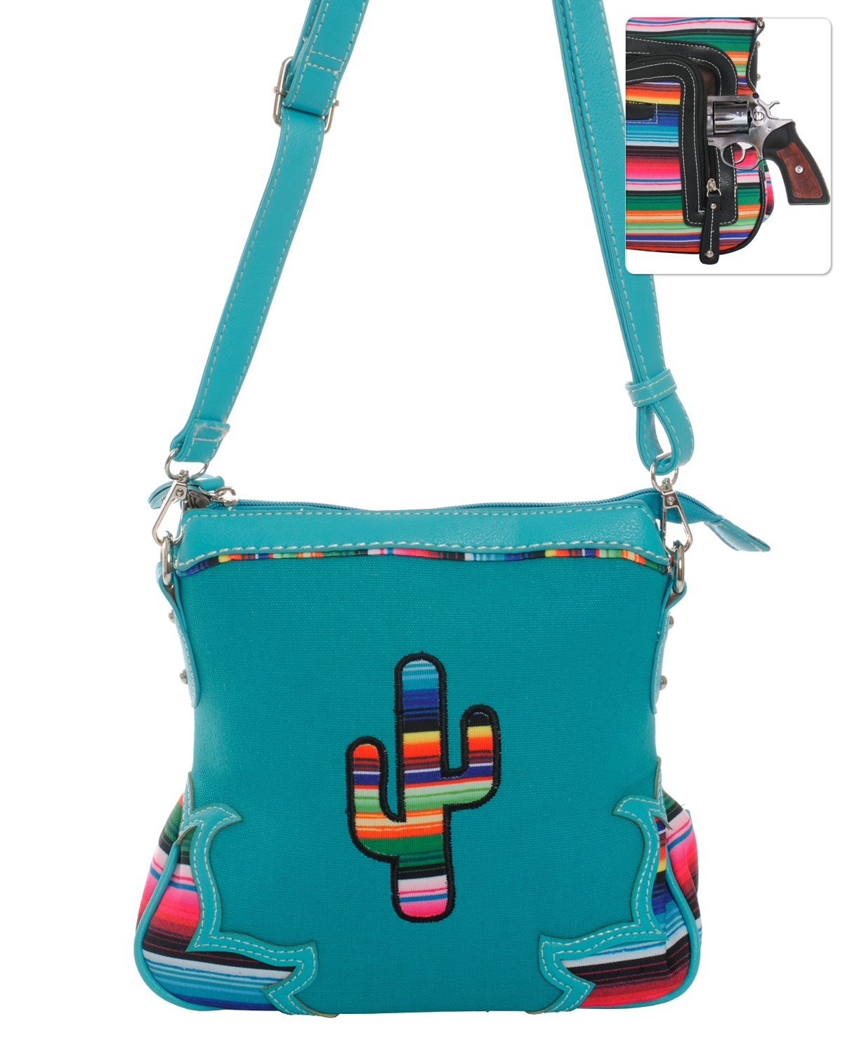 Serape Striped Cross Body Purse Messenger Bag (Turquoise Cactus)