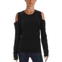 NEW Ralph Lauren Women's Lissie Black Soft Cold-shoulder Cashmere Knit Sweater