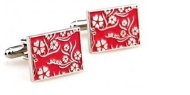 Frederick Thomas pink floral pattern rectangular design cufflinks FT481