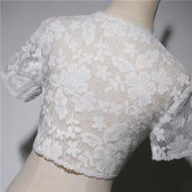 White Lace Wedding Cover Ups Retro Style Bridal Shrugs Boleros Pearl deco Plus  image 3