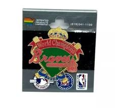 Atlanta Braves MLB 1996 World Champions Enamel Hat Pin NOS Wrong Team NY Yankees - $7.80